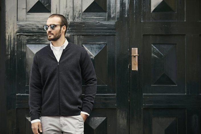 Casual men's cardigan, pánský svetr se zipem, ID 644 model