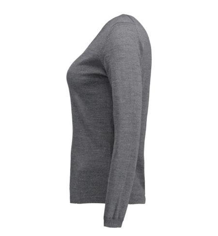Reklamní dámský pletený svetr s V-výstřihem - šedá melange
