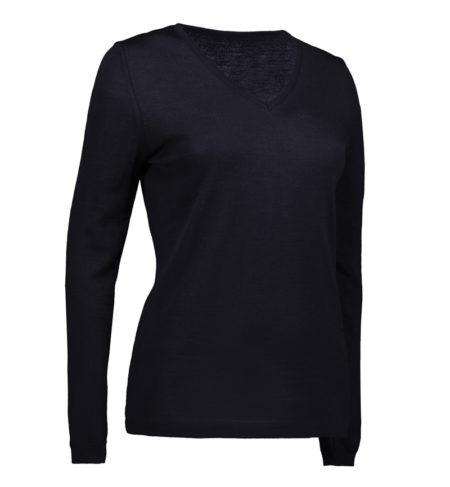 Reklamní dámský pletený svetr s V-výstřihem - navy